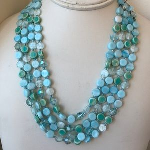 Vintage 4 strand blue beaded necklace west Germany